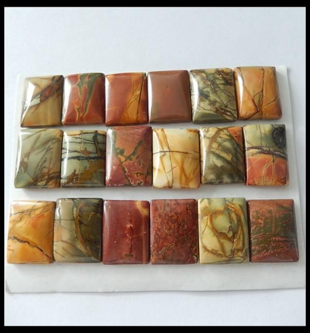 18PCS Natural Multi Color Picasso Jasper Cabochons,252.5CTS