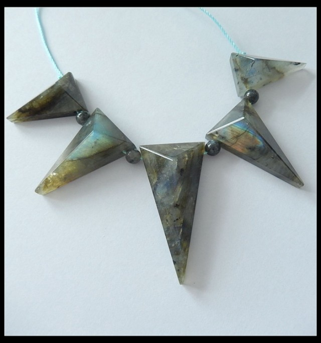 Faceted Labradorite Triangle Pendant Beads Cluster,104cts
