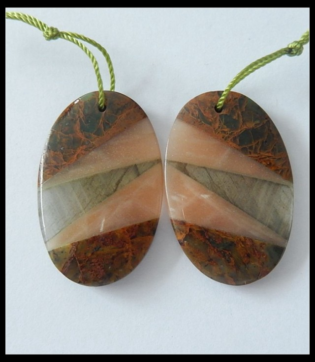 44Cts Natural Green Opal, Sunstone, Labradorite Intarsia Earring Beads