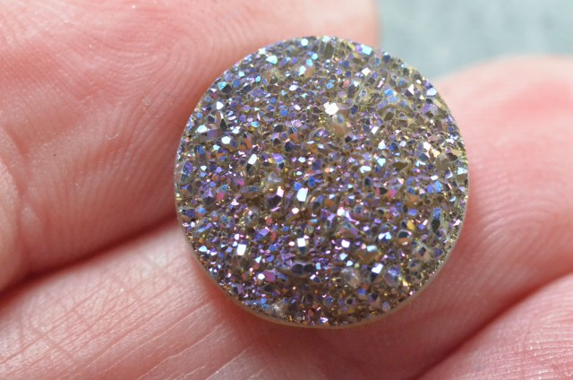 15mm multi colored round druzy cabochon AAA quality 15mm by 4mm 6.50ct