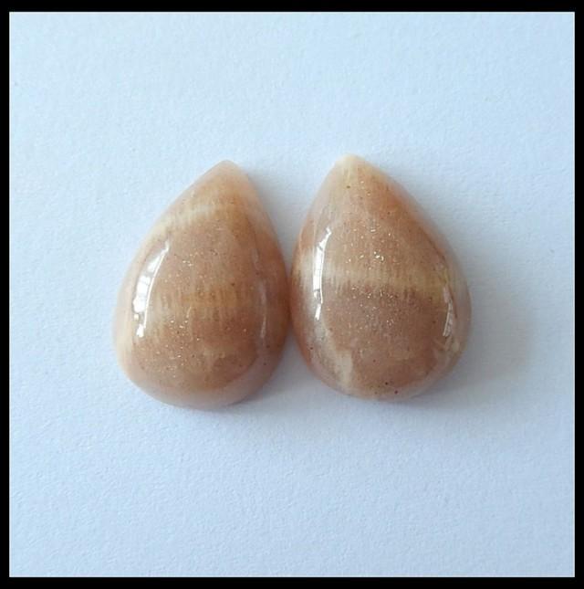 31ct Natural Sunstone Cabochon Pair,Pear Shaped