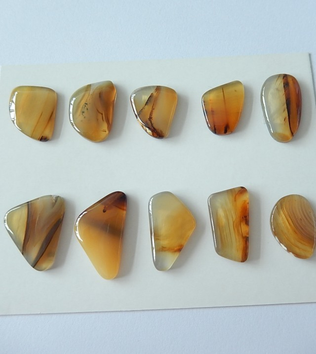 10 PCS Natural Agate GEMSTONE CAB Parcel,79.5cts