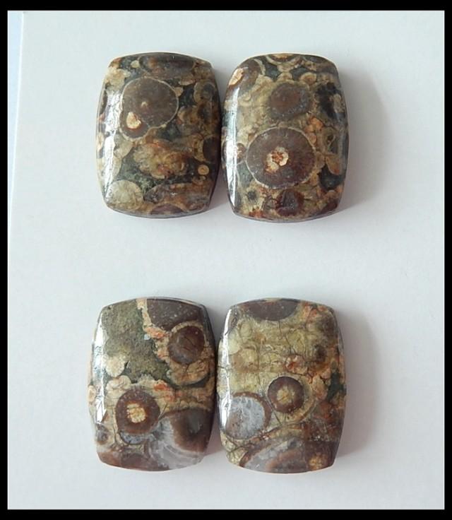 Natural Rhyolite Gemstone 2 Pair Cabochons,55.5cts
