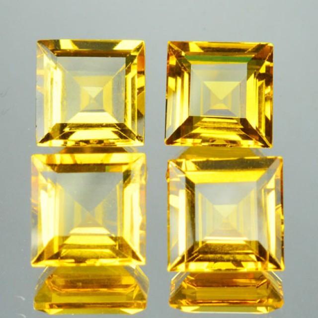 11.99 Cts Natural Beryl Golden Yellow 4 Pcs Parcel Square Cut Brazil Gem