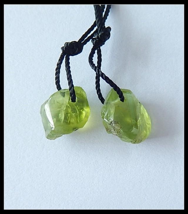 8Cts Natural Peridot Pair, Beads Pair(B1804401)