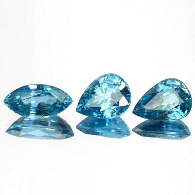 7.06 Cts Natural Sparkle Blue Zircon 3 Pcs SET Faceted Cambodia Gem