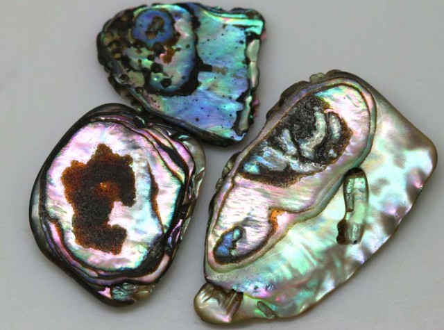 20.90 CTS ABALONE SHELL PARCEL (3PCS) ADG-1176