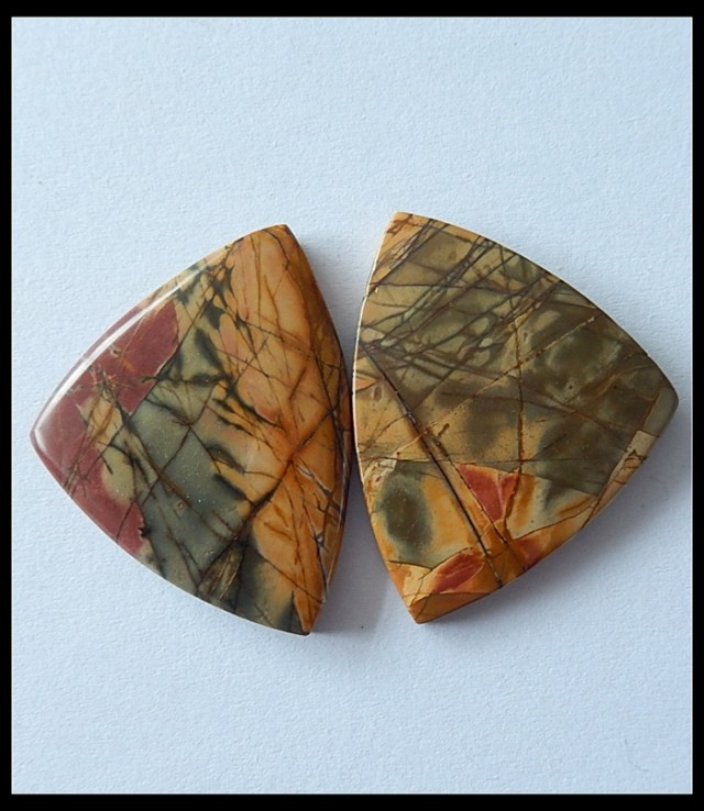 23.30 Cts Picasso Jasper Cushion Shape 22x13 mm Match Pair Loose Gemstone LP12606