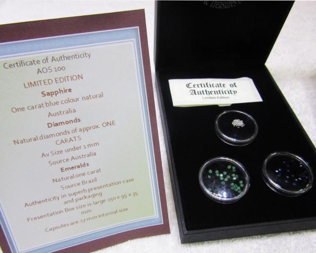 Treasures of the world ,Sapphire ,Diamonds,Emeralds, AOS 100