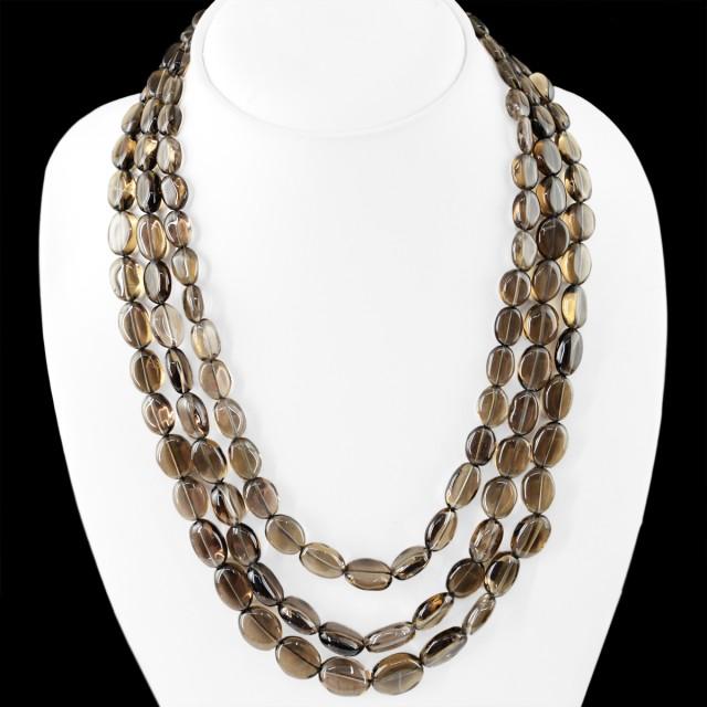 Genuine 530.00 Cts Smoky Quartz 3 Lines Beads Necklace