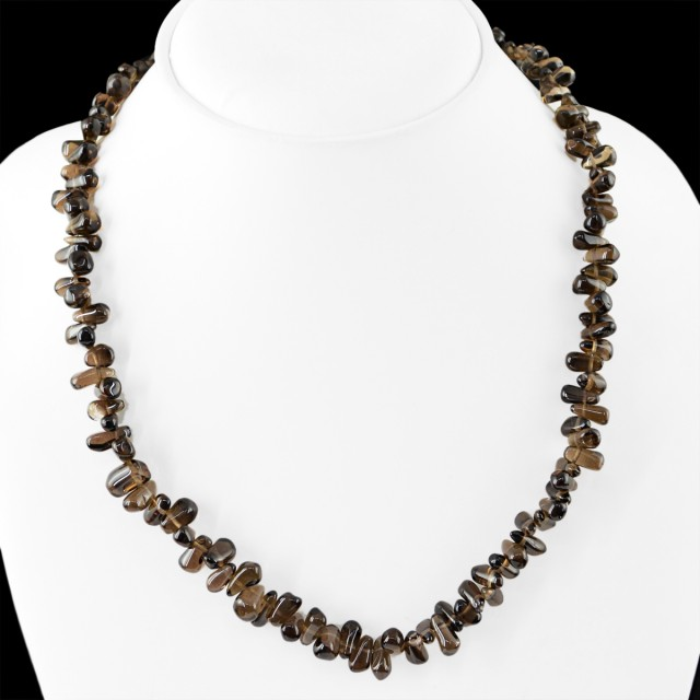 Genuine 185.00 Cts Smoky Quartz Beads Necklace