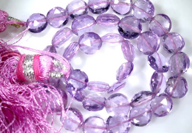 32 CTS QUALITY PINK AMETHYST FACETED BEADS STRAND ANGC-351
