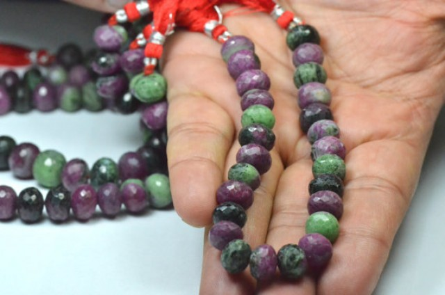 20cm 8 inch line 10mm Ruby Zoisite AAA rondelle gemstone beads faceted rz05
