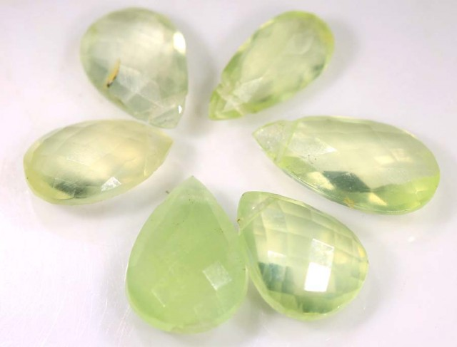 10.15 CTS YELLOW PREHNITE BRIOLETTE (6 PCS) FACETED ADG-1306
