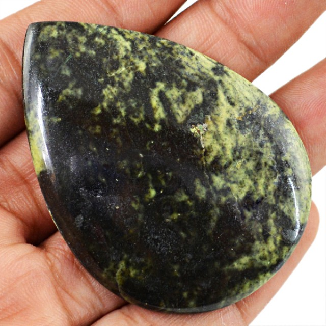 Genuine 91.20 Cts Forest Green Jasper Pear Shaped Cab