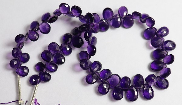 AAA 6.00-7.00MM AFRICAN AMETHYST FACETED PEAR BRIOLETTES!!