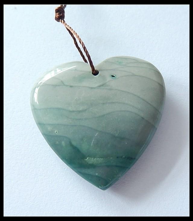46cts Natural SEA BLUE Wave Jasper Heart Pendant Bead