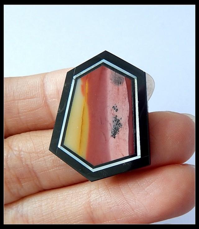17.5Cts Natural Mookaite Jasper,Shell,Obsidian Serpentine Intarsia Cabochon