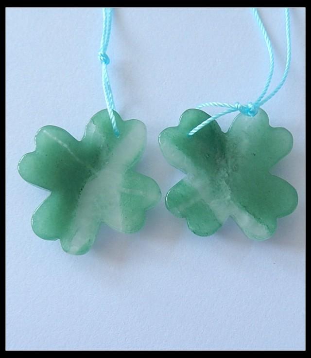 48Cts Four Leaf Clover Gemstone Beads Pair,Green Aventurine B80