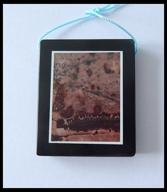 112.5cts Natural Chohua Jasper,Obsidian Intarsia Pendant Bead(B1804243)