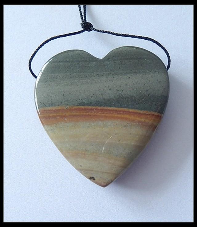 P0189 - 111cts Natural Ocean Jasper Heart Pendant Bead,Natural Gemstone Pen