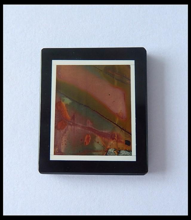 49.5cts Natural Multi Color Picasso Jasper Obsidian Intarsia Pendant Bead(B