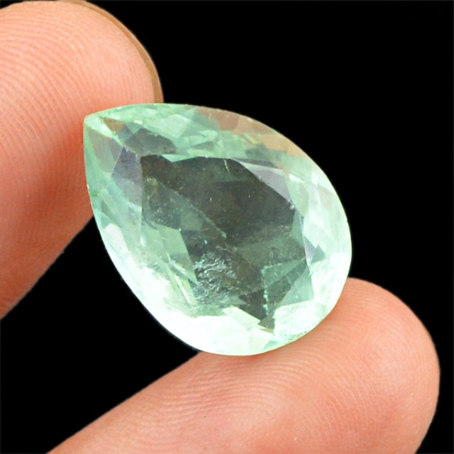 Genuine 14.30 Cts Green Amethyst Pear Faceted Gemstone