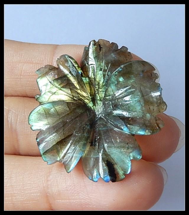 31Cts Natural Labradorite Gemstone Flower Carving(B1804122)