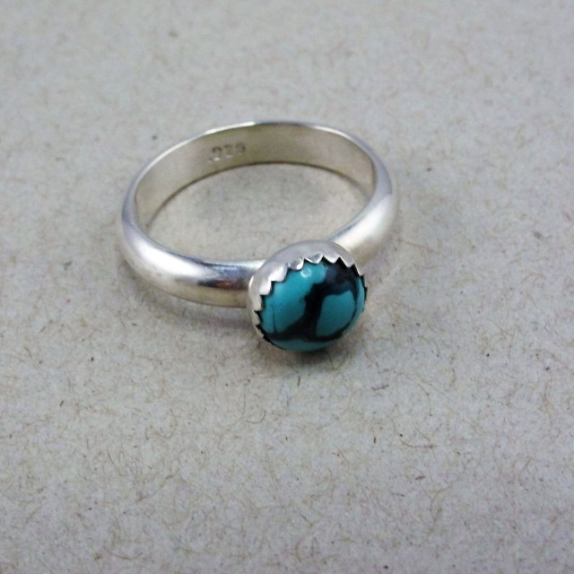 Turquoise Cabochon Silver Ring Size 7 3/4 US