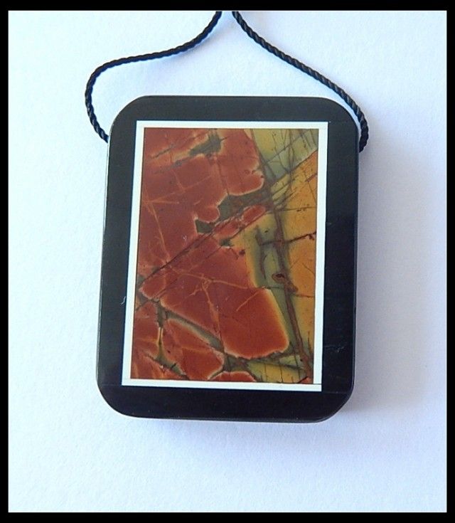 61.5Cts Natural MultI Color Picasso Jasper,Obsidian Intarsia Pendant Bead(B