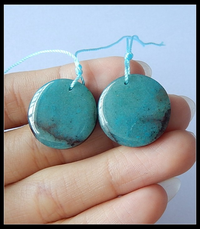 36Cts Natural Chrysocolla,Obsidian Intarsia Earring Beads (18091191)