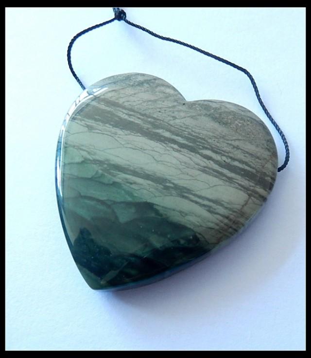 132CT Natural Wave Jasper Heart Pendant Bead,Healing Gemstone