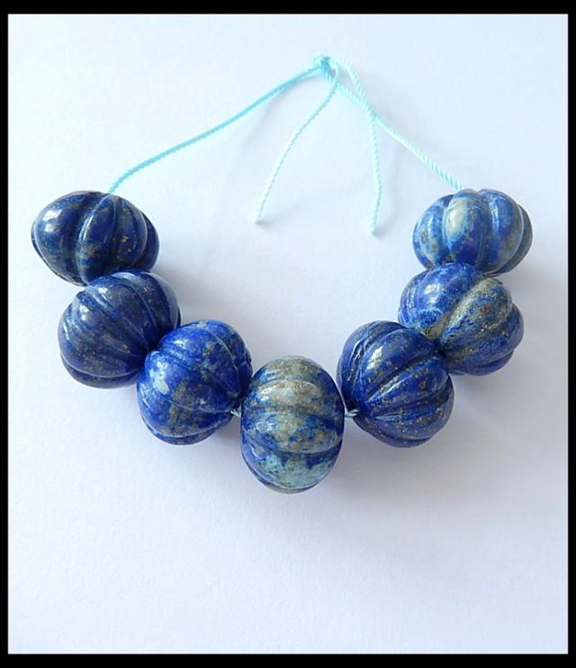 7 PCS Natural Lapis Lazuli Pumkin Beads Strand
