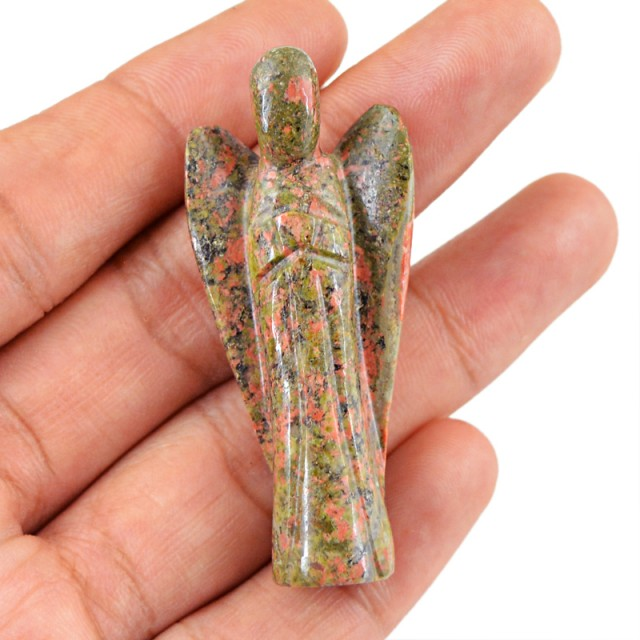 Genuine 76.80 Cts Blood Green Unakite Healing Angel