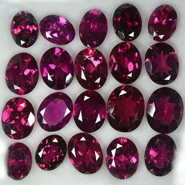 38.37 Cts Natural Pinkish Red Rhodolite Garnet 20 Pcs Parcel