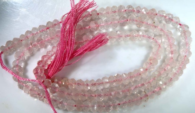 42 CTS BEADS QUALITY ROSE QUARTZ FACETED STRAND NP-1733