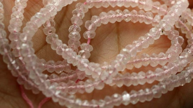 86 CTS BEADS QUALITY ROSE QUARTZ FACETED 2 STRANDS NP-1737