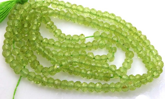 PERIDOT BEADS FACETED STRAND 27.30 CTS NP-1739
