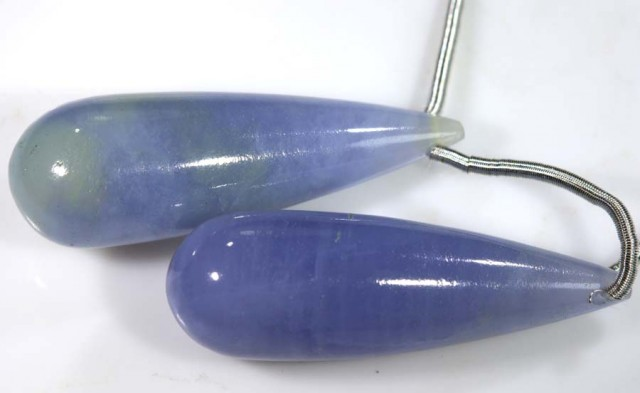 23 CTS CHALCEDONY DROPS PAIR DRILLED NP-1747