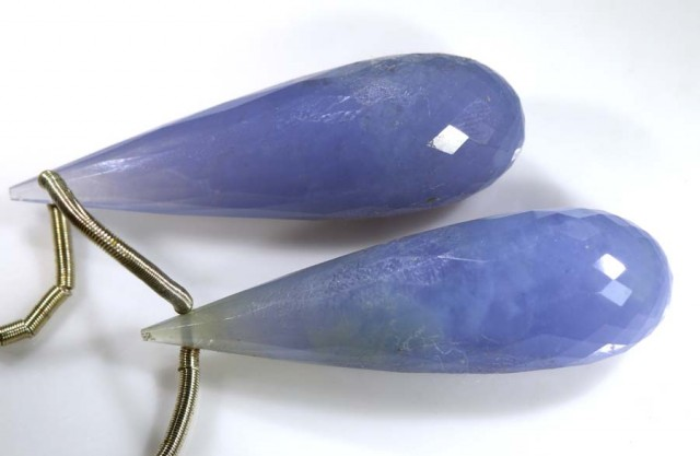 33 CTS CHALCEDONY DROPS PAIR FACETED DRILLED NP-1771
