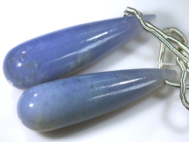 24 CTS CHALCEDONY DROPS PAIR DRILLED NP-1776
