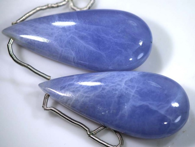 51 CTS CHALCEDONY DROPS PAIR DRILLED NP-1786