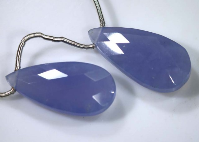 17 CTS CHALCEDONY DROPS FACETED PAIR DRILLED NP-1789