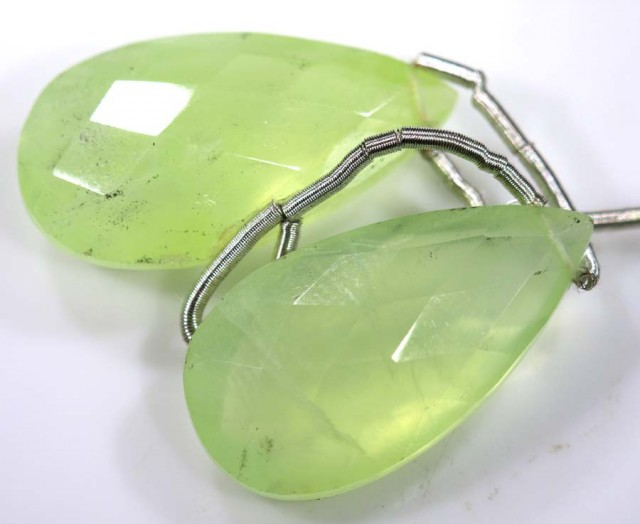 21 CTS PREHNITE FACETED BEADS DRILLED PAIR NP-1791