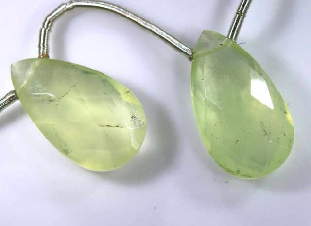 9 CTS PREHNITE FACETED BEADS DRILLED PAIR NP-1799