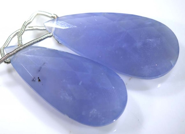 37 CTS CHALCEDONY DROPS PAIR FACETED DRILLED NP-1811