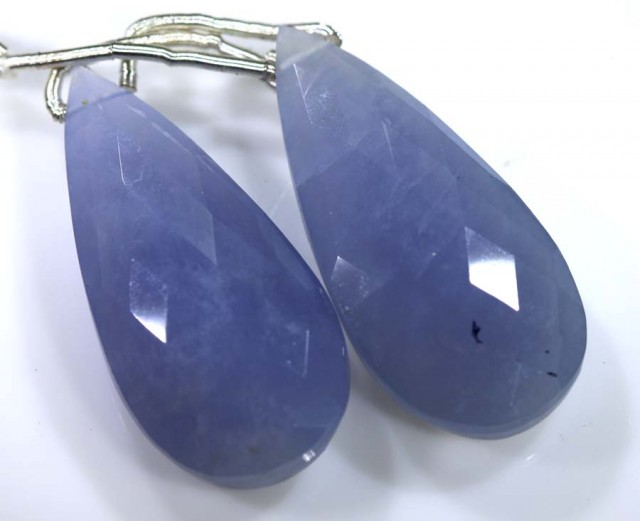 31 CTS CHALCEDONY DROPS PAIR FACETED DRILLED NP-1818