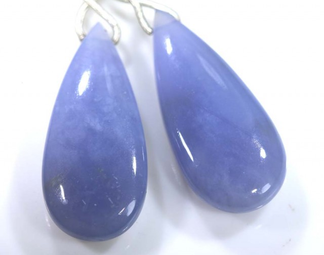 41 CTS CHALCEDONY DROPS PAIR DRILLED NP-1826