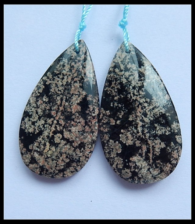 61.15Ct Natural Snow Obsidian Earring Beads