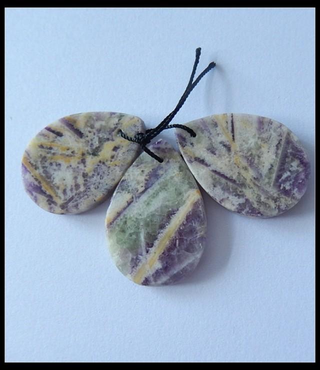 3 PCS Natural Purple Lace Agate Beads,73.5CTS